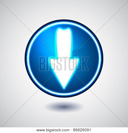 Blue illuminated download button