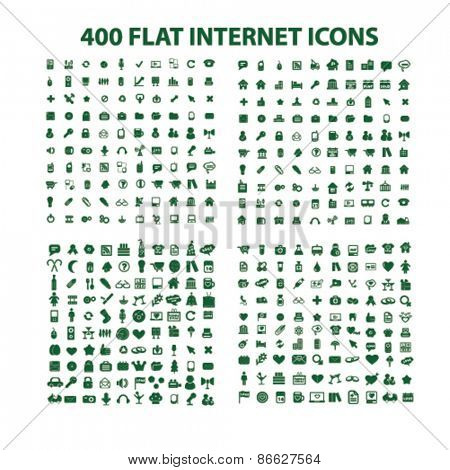 400 internet, website, office, business, media icons, signs, illustrations set, vector