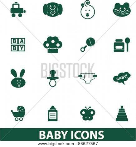 baby, children, toys icons, signs, illustrations set, vector