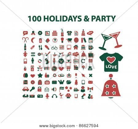 100 holidays, party, celebration icons, signs, illustrations set, vector