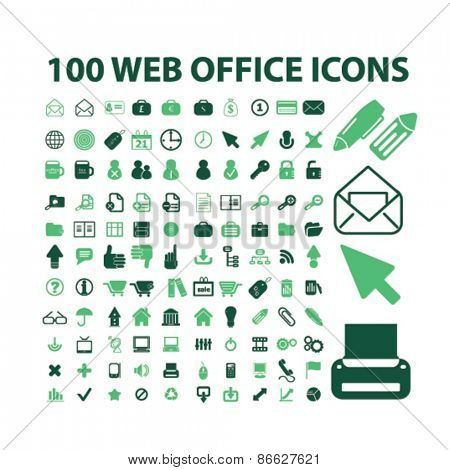 100 web office, document icons, signs, illustrations set, vector
