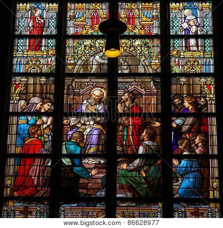 Stained Glass Of The Sacrament Of Confession In Den Bosch Cathedral