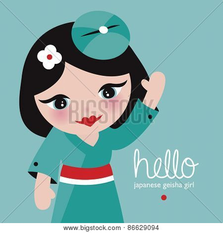 Hello japanese geisha girl adorable kids postcard cover design with waving kids illustration in vector