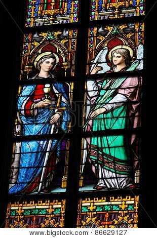 Stained Glass Of Saint Barbara And An Angel In Den Bosch Cathedral