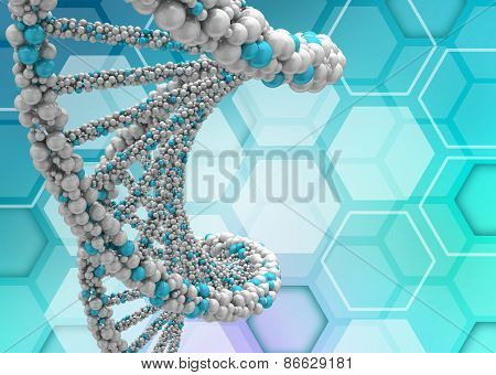 DNA molecule twisted into a spiral on medical background