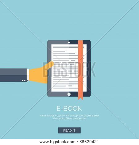 Vector illustration. Flat background with hand and tablet. E-book.