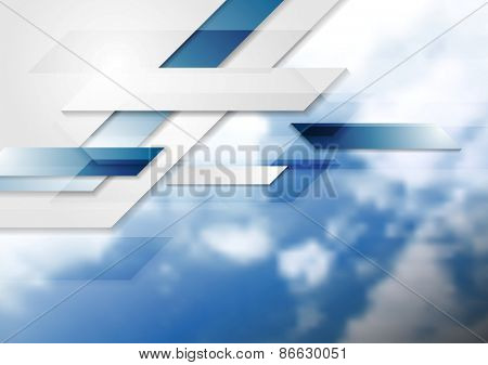 Blue shiny hi-tech background and cloudy sky. Vector design