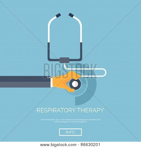 Vector illustration. Flat background with hand and stethoscope. First aid, diagnostic. Respiratory i