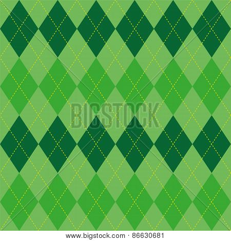 Argyle Pattern Green Rhombus Seamless Texture