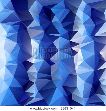 Vector Polygonal Background Pattern - Triangular Design In Cold Ice Blu