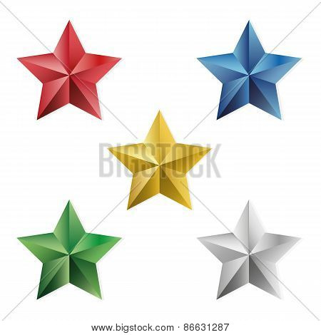 Set Of Precious Stars Vector Isolated Objects