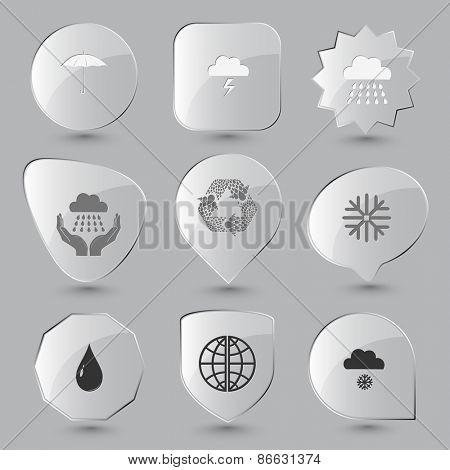 Weather set. Raster glass buttons.