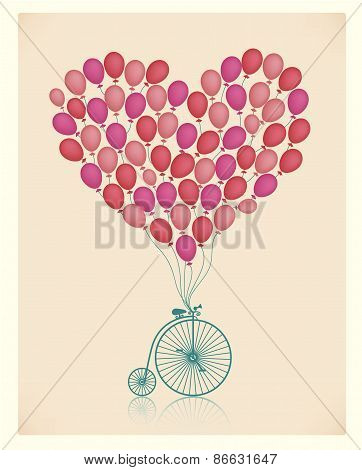 vector vintage wedding invitation, valentine greeting card with retro bicycle