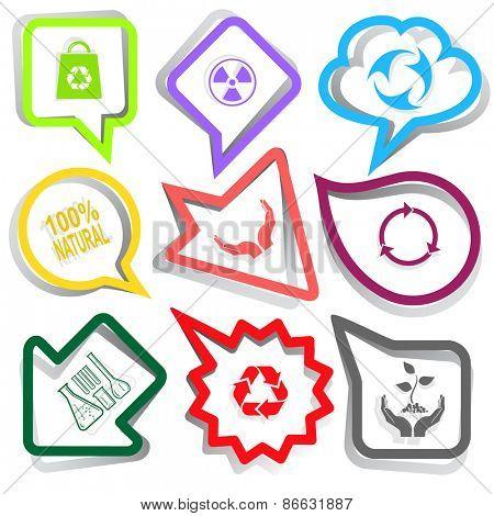 Ecology set. Paper stickers. Raster illustration.