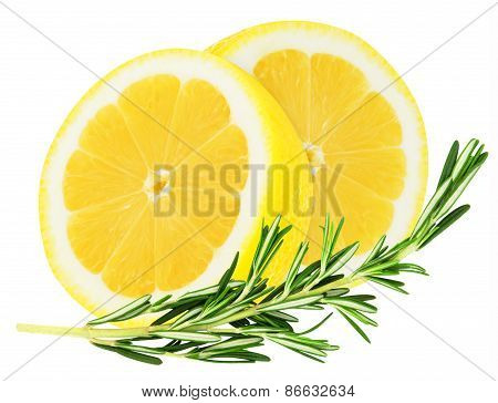 Juicy yellow lemon with a sprig of rosemary