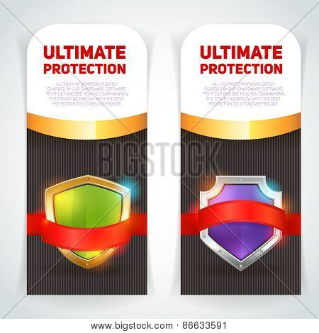 Shield golden frame banners set