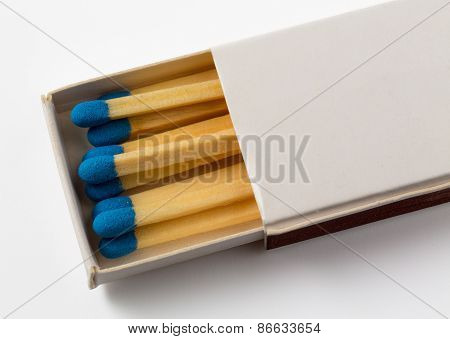White Box Of Matches With Blue Tips