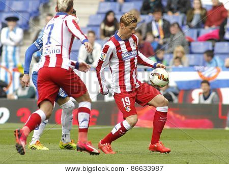 BARCELONA - MARCH, 14: Fernando Torres of Atletico Madrid during a Spanish League match against RCD Espanyol at the Estadi Cornella on March 14, 2015 in Barcelona, Spain