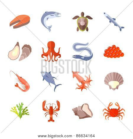 Sea Food Icon Flat