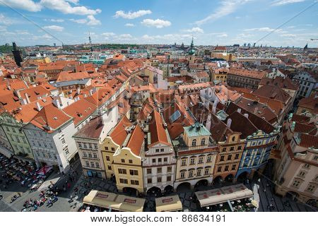 Prague - MAY 9, 2014: Old Town Square on May 9 in Chech Republic, Prague. Old Town Square is a popular tourist destination in Prague