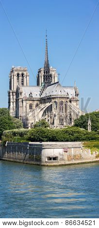 Panorama of Notre Dame Cathedral with Paris cityscape, France