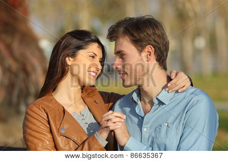Couple Hugging And Dating In A Park Looking Each Other