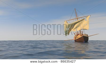 boat with torn sale in the sea