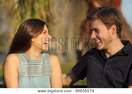 Friends Laughing And Taking A Conversation In A Park