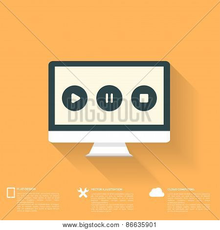 Abstract musical background with flat web icons.