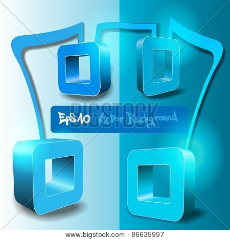 Abstract Bright Blue 3D Geometric Concept with Label