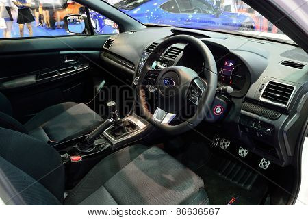 Bangkok - March 26 : Interior Design Of Subaru Wrx Sedan Car On Display At Bangkok International Mot