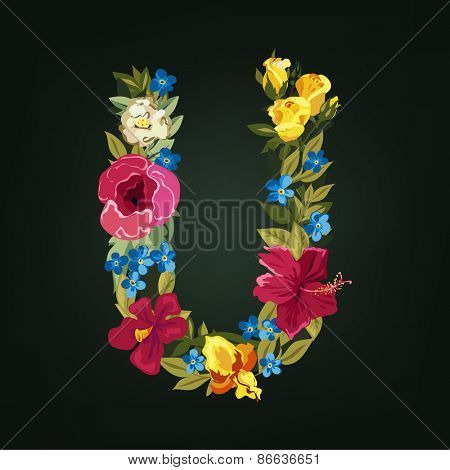 U letter. Flower capital alphabet. Colorful font. Uppercase.  Vector illustration.