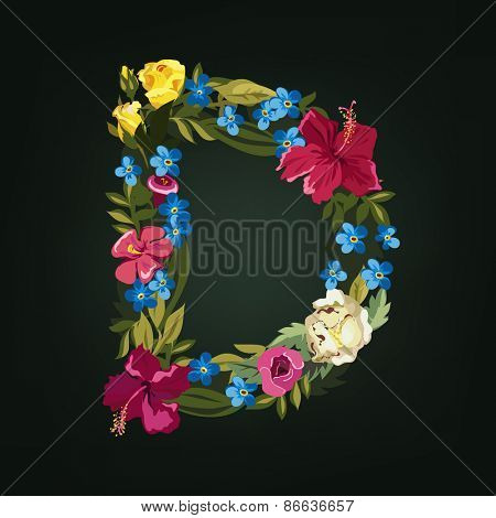 D letter. Flower capital alphabet. Colorful font. Uppercase.  Vector illustration.