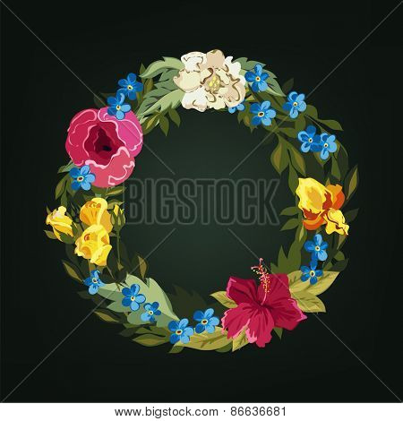 O letter. Flower capital alphabet. Colorful font. Uppercase.  Vector illustration.