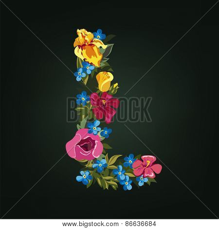 L letter. Flower capital alphabet. Colorful font. Uppercase.  Vector illustration.