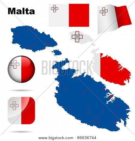 Malta set. Detailed country shape with region borders, flags and icons isolated on white background.