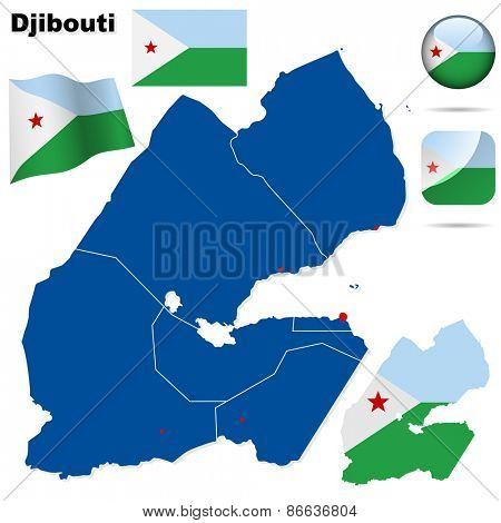 Djibouti set. Detailed country shape with region borders, flags and icons isolated on white background.