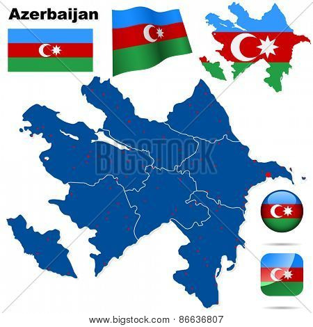 Azerbaijan set. Detailed country shape with region borders, flags and icons isolated on white background.