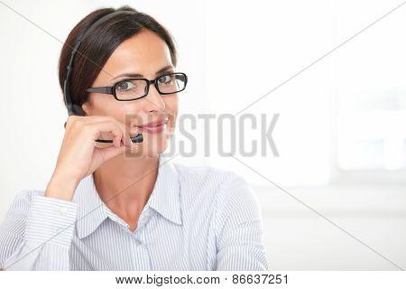Pretty Latin Lady Doing Customer Service