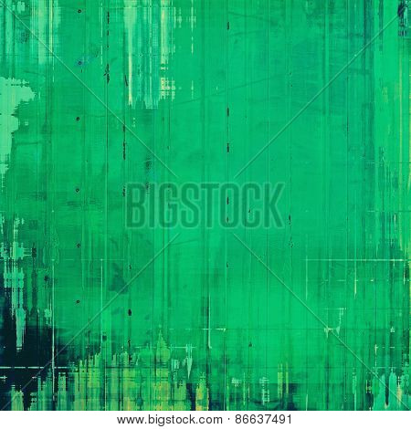 Old grunge background with delicate abstract texture and different color patterns: green; cyan; black