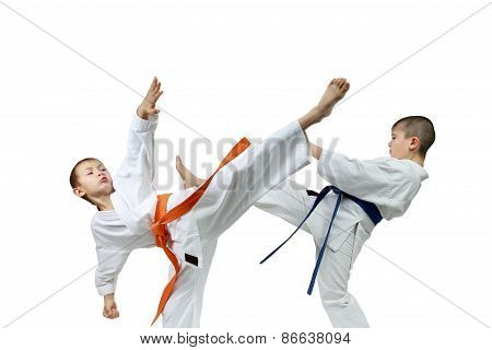 With orange and blue belts  the sportsmen are beating kicks