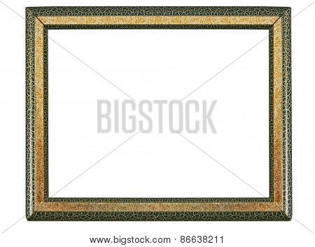 gold and green frame isolated on white background