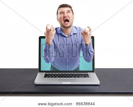 yelling man got out of the laptop against white background