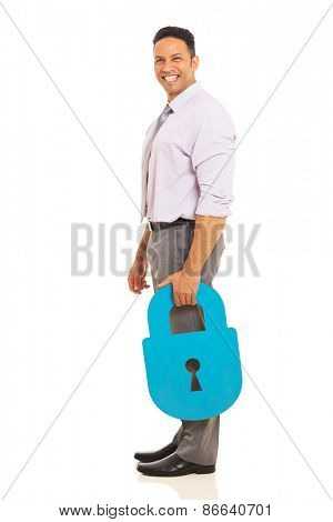 smiling mid age man holding security padlock isolated on white background