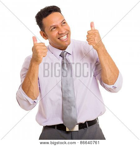happy middle aged businessman thumbs up