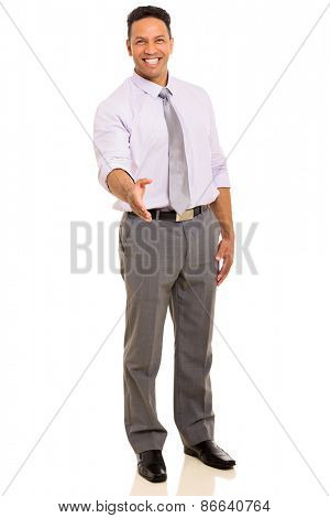 smiling middle aged businessman offering handshake on white background