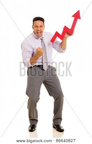 excited mid age businessman holding stock arrow on white background