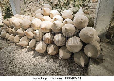 Clay Vessels In Antique Roman Amphiteater In Pula In Croatia
