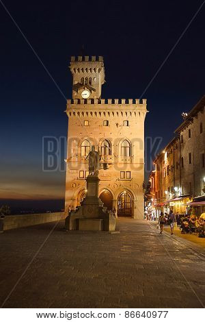Town Hall Square In San Marino Late In The Evening In Summer