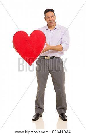 full length portrait of man presenting red heart symbol